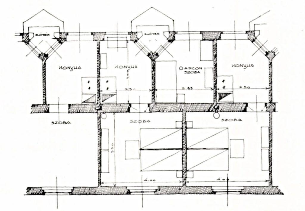 A Tér és Forma építészeti folyóiratban leközölt alaprajz részlet, szoba-konyhás és garzon lakásokkal