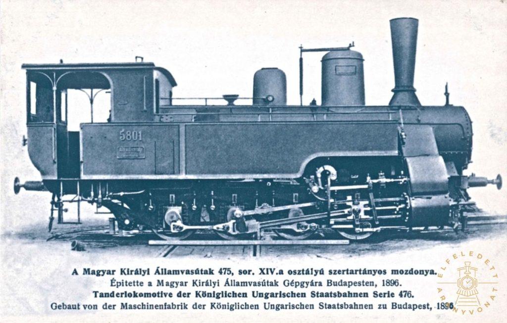 A MÁV 475. sorozatú, XIV.a osztályú szertartányos mozdonya egy képeslapon