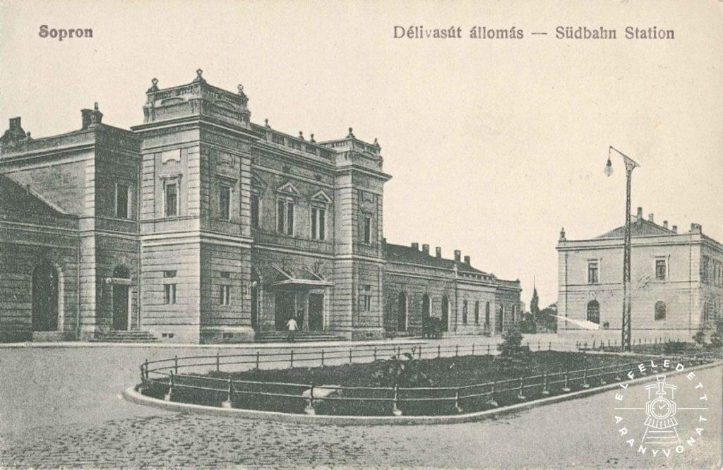 A MÁV soproni Déli vasútállomása egy korabeli képeslapon