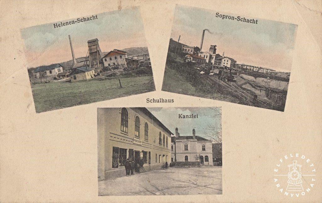 Brennbergi képeslap 1914-ből. Az alsó kép bal oldalán az iskola épülete, Krausz József üzletével