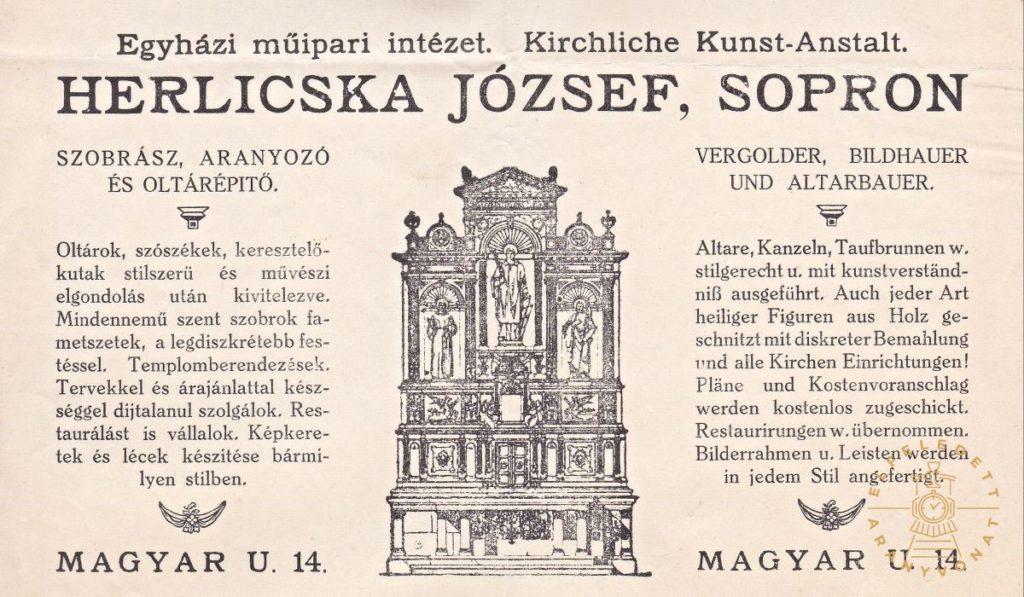 A templom oltárát készítő Herlicska József soproni szobrász, aranyozó és oltárépítő fejléces papírja