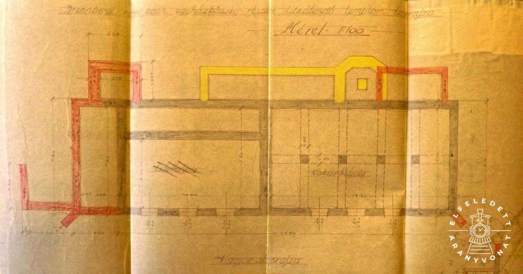 A templom Füredi Oszkár által készített alagsori alaprajza 1930-ból